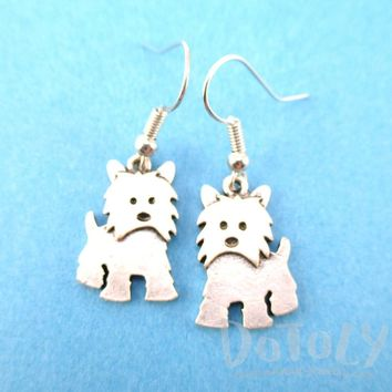 Adorable Westie Terrier Puppy Dog Shaped Dangle Earrings in Silver | Animal Jewelry