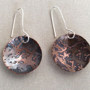 Copper Earrings Etched Dome With a Patina