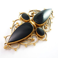 14K Antique Victorian Onyx Mourning Brooch Pin by laurenrosedesign