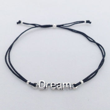 Dream Intention Bracelet, adjustable string bracelet with 925 Sterling silver Charm, Inspiring word, Statement bracelet, Christmas stocking