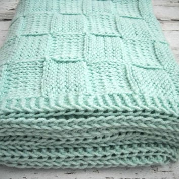 Mint Green Blanket - Hand Knit Adult Lap Afghan - Green Basketweave Knitted Children Blanket - Toddler Knit Afghan - Unisex Afghan Throw