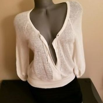 Theory Womens Small Light Sweater V Neck  Knit Ivory Cardigan