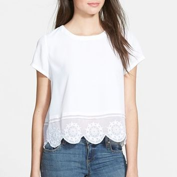 Junior Women's Frenchi Scallop Hem Chiffon Top