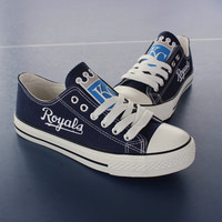 2016 Kansas City Royals Sneakers KC Royals Fashionable Canvas Tennis Shoes FREE SHIPPING