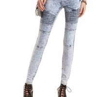 Acid Wash Skinny Moto Jeans by Charlotte Russe