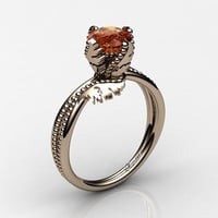 Swan 14K Rose Gold 1.0 Ct Orange Sapphire Fairy Engagement Ring R1029-14KRGOS