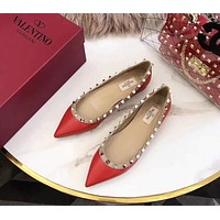 Valentino Summer Popular Women Single Shoes Flat Pointy Shoes(4-Color) Red I-AHD-HNXG-ZD