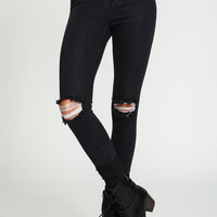Black High Waisted Knee Slit Jeans