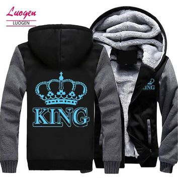 The QUEEN or The KING Luminous Glowing Printed Winter Fleece Thicken Hoodie Jacket Coat Zipper Sweatshirt Unisex