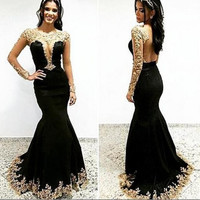 Black Applique Long Sleeve Mermaid Prom Dresses