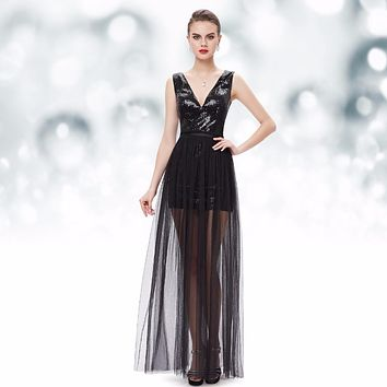 Sexy Two Piece V neck Sequined Mini Cocktail Dresses Little Black HE08492BK Ever Pretty 2017 Free Shipping