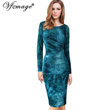 Vfemage Womens Velvet Elegant Vintage Winter Spring Floral  Ruched Ruffle Work Casual Party Sheath Fitted Bodycon Dress 4703