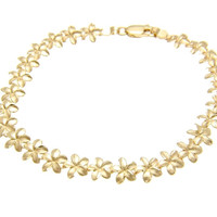 SOLID 14K YELLOW GOLD HAWAIIAN PLUMERIA FLOWER BRACELET DIAMOND CUT 7MM 7""