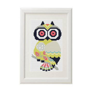 Owl Cross Stitch Pattern owl  Cross stitch pattern boho funny crossstitching pattern modern Bird Cute cross stitch pattern