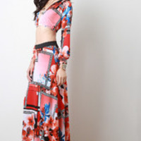 Framed Floral Maxi Skirt