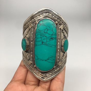 Ethnic Vintage Afghan Turkmen Tribal Kuchi Turquoise Inlay cuff bracelet BR26