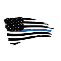 Tattered American Flag Thin Blue Line Decal