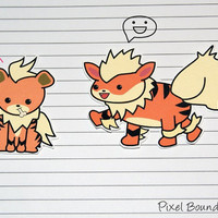 Growlith/Arkanine Stickers and Magnets