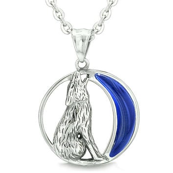 Amulet Howling Wolf Wild Moon Powers Midnight Blue Cats Eye Pendant 22 Inch Necklace