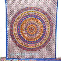 Mandala Tapestry, Hippie Tapestry, Indian Cotton Bedspread Bed sheet Cover, Boho Bohemian Wall Hanging Tapestry, Queen Mandala Ethnic Decor