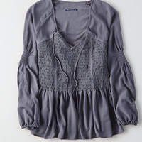 AEO Smocked Flowy Top, Navy