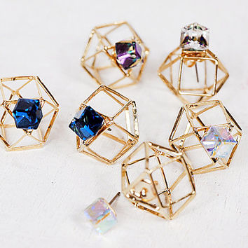 Unique earrings,Cube earrings,Double sided earrings,Crystal earrings,Gold plated earrings,Earrings,Unique style,K pop Earrings,GF gift