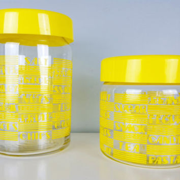 Set of 2 Kitchen Jars Bright Yellow Retro, Candy Jar, Flour Jar, Sugar Canister, Tea Coffee Holder, Retro Kitchen Decor, Glass Jars Canister