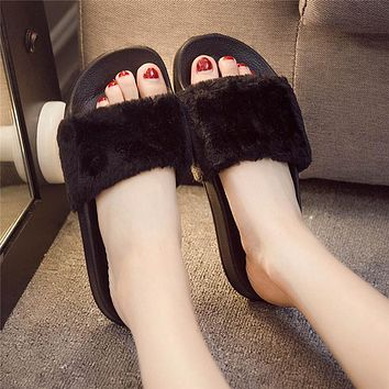 Slippers Womens Zapatos Mujer Ladies Slip On Sliders Fluffy Faux Fur Flat New Fashion Female Casual Slipper Flip Flop Sandal