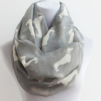 Gray Dog Infinity Scarf Puppy Dog Scarf Dog Scarf Cute Dog dachshunds Scarf Infinity Scarf  Dog Lover Christmas Gift