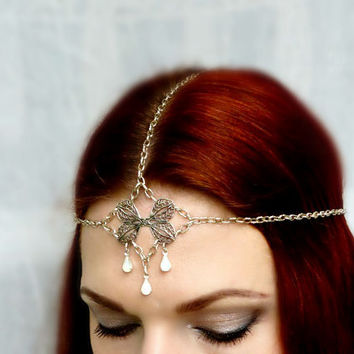 Art Nouveau Opal Rhinestone Headpiece Gypsy Chain Headdress - Boho Renaissance