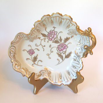 Vintage Rosenthal Gold and Pink Porcelain Leaf Dish - Germany - Circa 1920