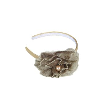 Gold Satin Headband with Vintage Gold Flower & Pearl