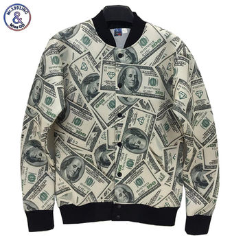 One Hundred Dollar Bill 3D Design Men's Jacket