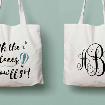 Dr.Seuss quote: Oh the places you'll go Class 2016 monogram tote for college / high school graduate