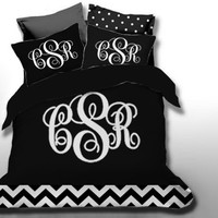 Custom Chevron Monogrammed Duvet Bedding Set-Personalized Monogram-