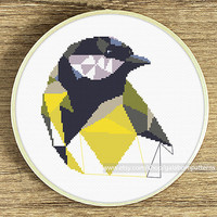 Bird cross stitch pattern, Modern cross stitch pattern, Great tit, Geometric bird, Cross stitch chart, Bird cross stitch, Xstitch, Nature