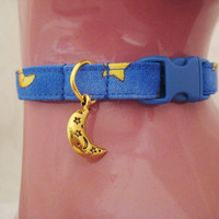 Cat Collar -  Blue and Yellow Moon and Stars with a Gold Moon Charm - Safety Release collar with Charm for your Special Kitty