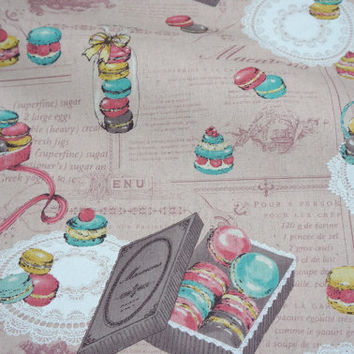 Yuwa Fabric Macaron and sweets Cotton Linen Blend