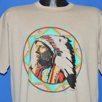 80s Native American Cherokee Chief Portrait t-shirt Large
