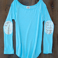 Tiffany Blue Sequin Elbow Patch Slouchy Pullover Long Sleeve Tee-  Women's Long Sleeve French Terry Tee Now available in XL