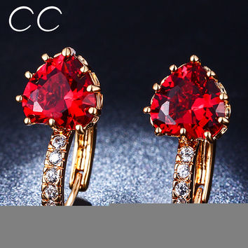 Cc&byx Trendy Gold Plated Cubic Zirconia Stud Earrings For Women E014
