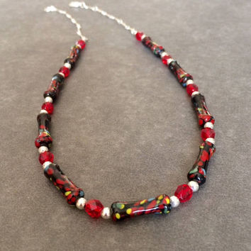 Beaded Red Black Necklace Statement Necklace Multi Color Glass Bead Necklace Short Bead Necklace Handmade Gift Her Christmas Gift Mom Wife
