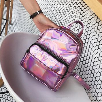 University College Backpack Moon Wood Brand Fashion Hologram Laser  Pink Silver Women Leather Holographic   Girls School Bag MochilaAT_63_4