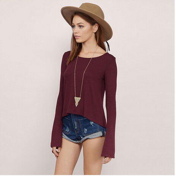 Sexy Hollow Out Backless Long Sleeve Stylish T-shirts [4962085444]
