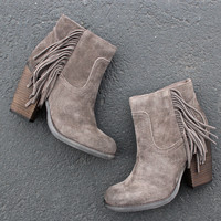 sbicca marimba suede ankle boots with fringe (2 colors)