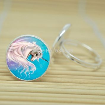 Long Mane Unicorn Ring Glass Cabochon Inexpensive Adjustable Silver or Antique Bronze Color Metal