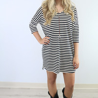 Evening Bliss Black & Cream Striped Shirt Dress With Pockets