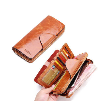 Vintage women wallets genuine leather wallets zipper long lady purse clutch women wallet holder card holder carteira masculina