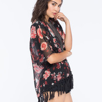 Lottie & Holly Floral Womens Fringe Kimono Multi  In Sizes