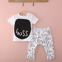Baby Boys 2-piece Outfits Print T-shirt Trousers Set